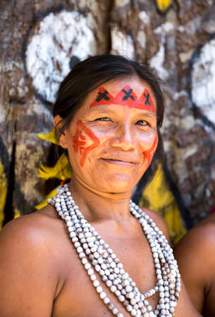 tribal woman: Native Brazilian woman at an indigenous tribe in the Amazon