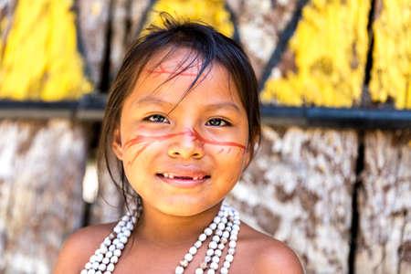 native american woman: Brazilian indian cute girl in Amazon, Brazil