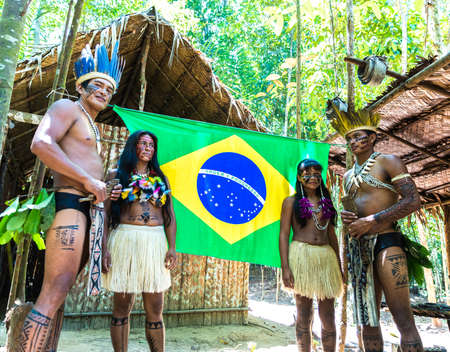 Indian family in Brazilian Amazon, Brazil Stock Photo