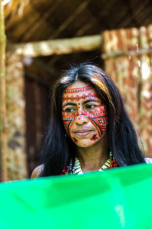 native culture: Native Brazilian woman at an indigenous tribe in the Amazon