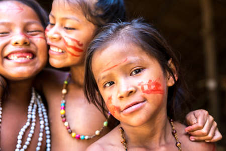 native american girl: Native Brazilian girls at an indigenous tribe in the Amazon