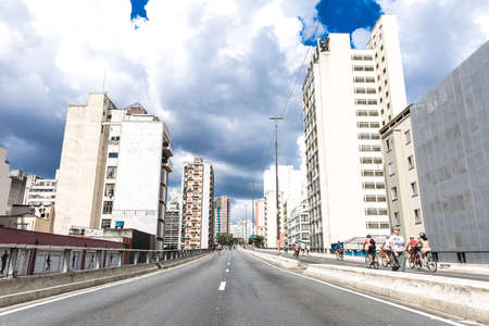 silva: Costa e Silva Elevated Road Minhocao in Sao Paulo, Brazil Editorial