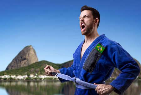 fighting styles: Brazilian judoka man in Rio de Janeiro, Brazil