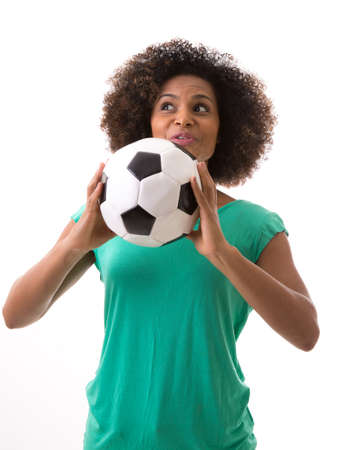 green river: Brazilian woman playing with the soccer ball on white background Stock Photo