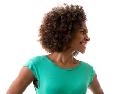 brazilian woman: Portrait of Young Brazilian woman smiling on white background Stock Photo