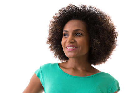Portrait of Young Brazilian woman smiling on white background Stock Photo