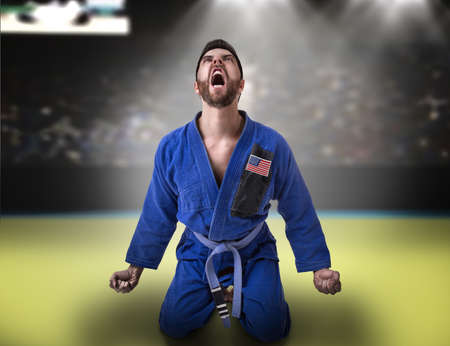jiu jitsu: American judoka in the stadium Stock Photo