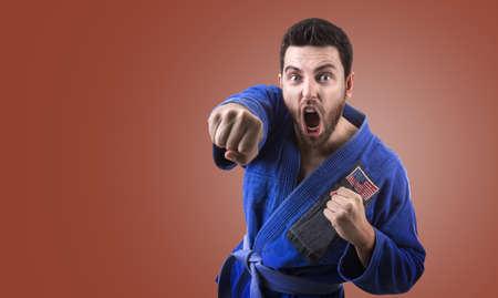 fighting styles: American judoka fighter man
