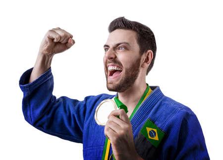 jiu jitsu: Brazilian judoka fighter Stock Photo