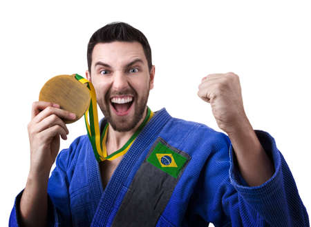 jiu jitsu: Brazilian judoka fighter Stock Photo