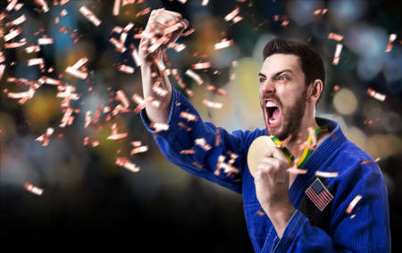 jiu jitsu: American judoka man Stock Photo