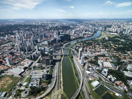 Aerial view of Marginal Pinheiros in Sao Paulo, Brazil