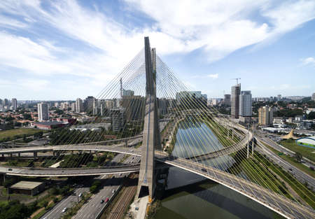 marginal: Aerial view of the most famous bridge in the city of Sao Paulo, Brazil