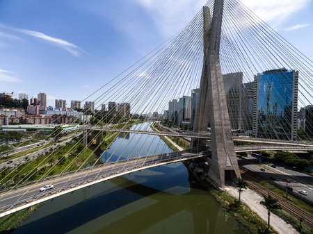 Aerial view of the most famous bridge in the city of Sao Paulo, Brazil.