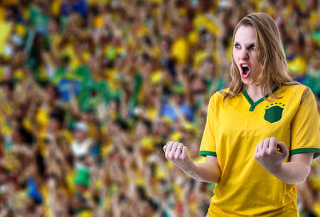 Brazilian female fans celebrating in the stadium