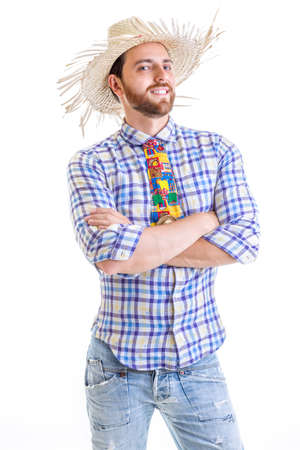Man wearing Caipira clothes for the Brazilian Festa Junina Reklamní fotografie