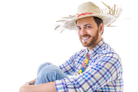 festa: Man wearing Caipira clothes for the Brazilian Festa Junina Stock Photo