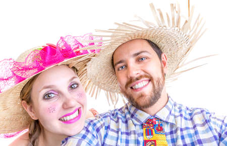 Lovely Couple wearing hick clothes for the Brazilian June Festival