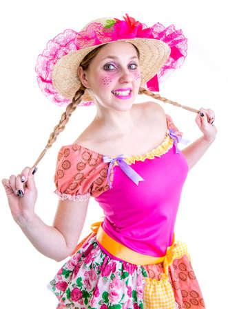 Brazilian woman wearing custom for Brazilian Junina Party June Festival