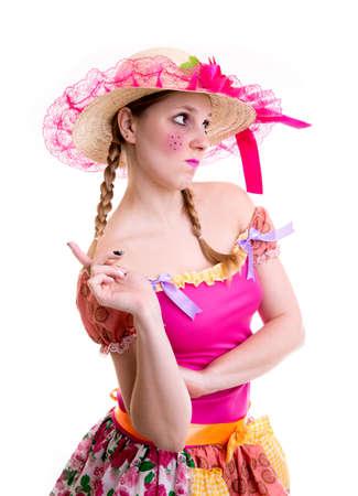 country girl: Brazilian woman wearing costume for Brazilian Junina Party Festa Junina