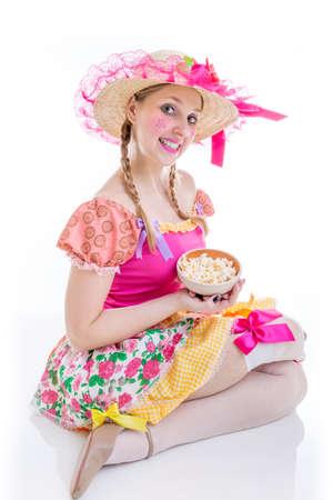 festa: Brazilian woman wearing costume for Brazilian Junina Party Festa Junina