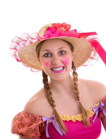 pretty blonde girl: Brazilian woman wearing costume for Brazilian Junina Party Festa Junina