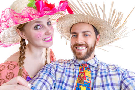 Lovely Couple wearing Caipira clothes for the Brazilian Festa Junina