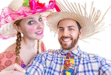 june: Lovely Couple wearing Caipira clothes for the Brazilian Festa Junina