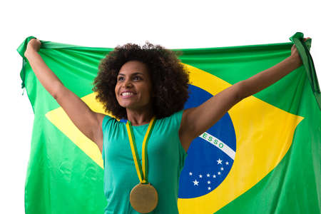 brazilian woman: Brazilian woman holding the Brazilian flag on white