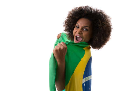 green and white: Brazilian woman holding the Brazilian flag on white