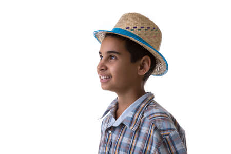 festa: Brazilian boy wearing costume for Brazilian Junina Party Festa Junina Stock Photo