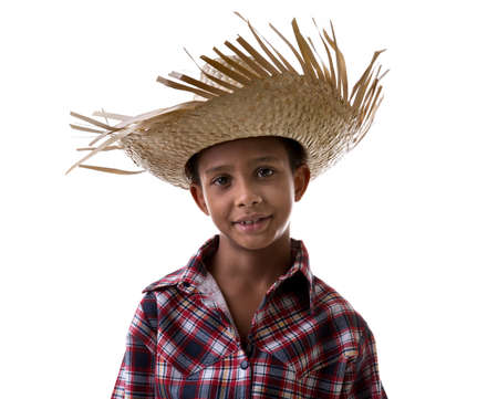 straw the hat: Boy wearing a straw hat and check shirt