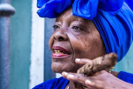 smoking women: Woman smoking cigar in Havana, Cuba Stock Photo