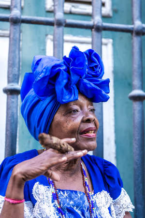 havana cuba: Woman smoking cigar in Havana, Cuba Stock Photo