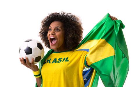 black   white background: Brazilian woman celebrating on white background Stock Photo