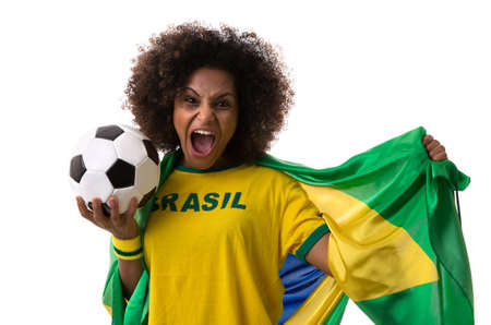 background people: Brazilian woman holding a soccer ball on white background