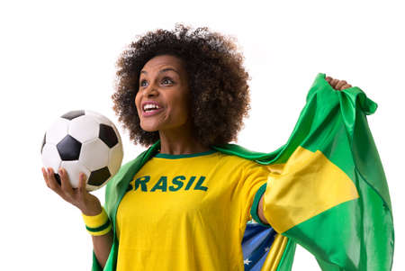 black   white background: Brazilian woman holding a soccer ball on white background