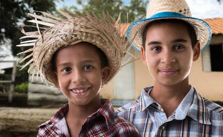 hombres guapos: Brazilian boys on caipira costume on the farm