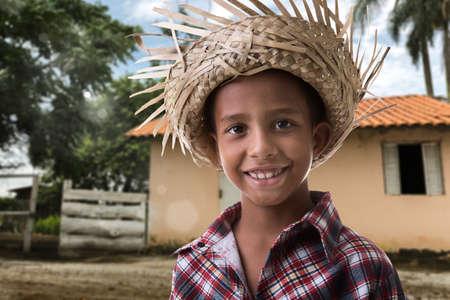 country boy: Brazilian boy on caipira costume on the farm