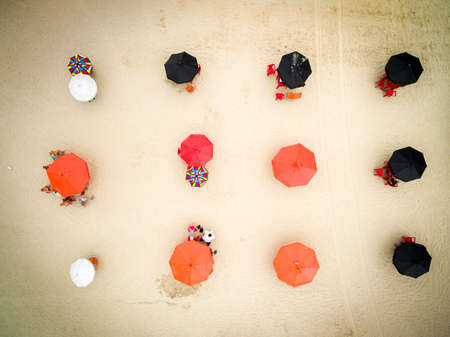 Aerial view of umbrellas in beach, Brazil