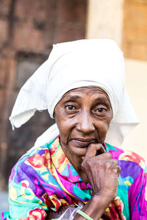 cuban culture: Portrait of a cuban woman and looking at the camera