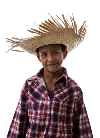 country boy: Brazilian boy wearing custom for Brazilian Junina Party June Festival Stock Photo