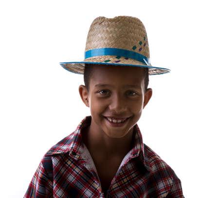 country boy: Brazilian boy wearing costume for Brazilian Junina Party Festa Junina Stock Photo