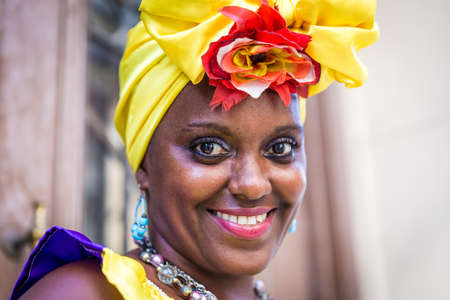 women smoking: Portrait of african cuban woman