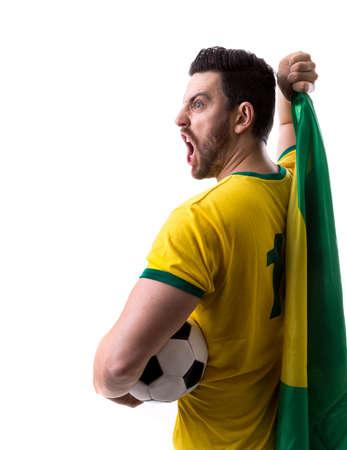 futball: Brazilian male fan on white background