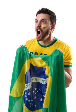Brazilian male fan on white background