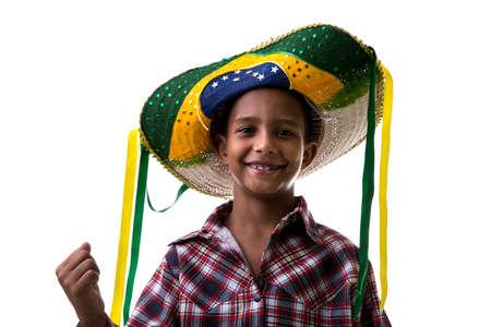 brazilian: Brazilian child with brazilian costume