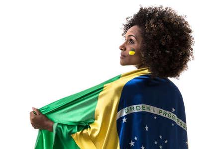 mulatto woman: Brazilian woman on white background Stock Photo