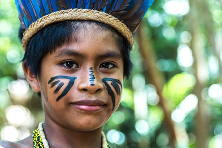 indigenous: Native Brazilian boy at an indigenous tribe in the Amazon