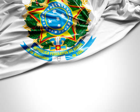 brazil country: Brazilian coat of arms waving flag on white background Stock Photo